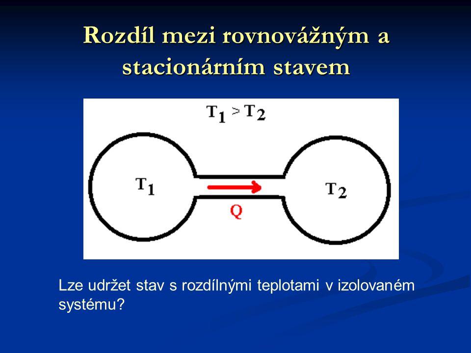 Rozdíl mezi rovnovážným a stacionárním stavem Lze udržet stav s rozdílnými teplotami v izolovaném systému?
