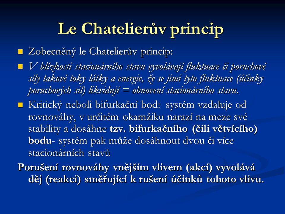 Le Chatelierův princip Zobecněný le Chatelierův princip: Zobecněný le Chatelierův princip: V blízkosti stacionárního stavu vyvolávají fluktuace či poruchové síly takové toky látky a energie, že se jimi tyto fluktuace (účinky poruchových sil) likvidují = obnovení stacionárního stavu.