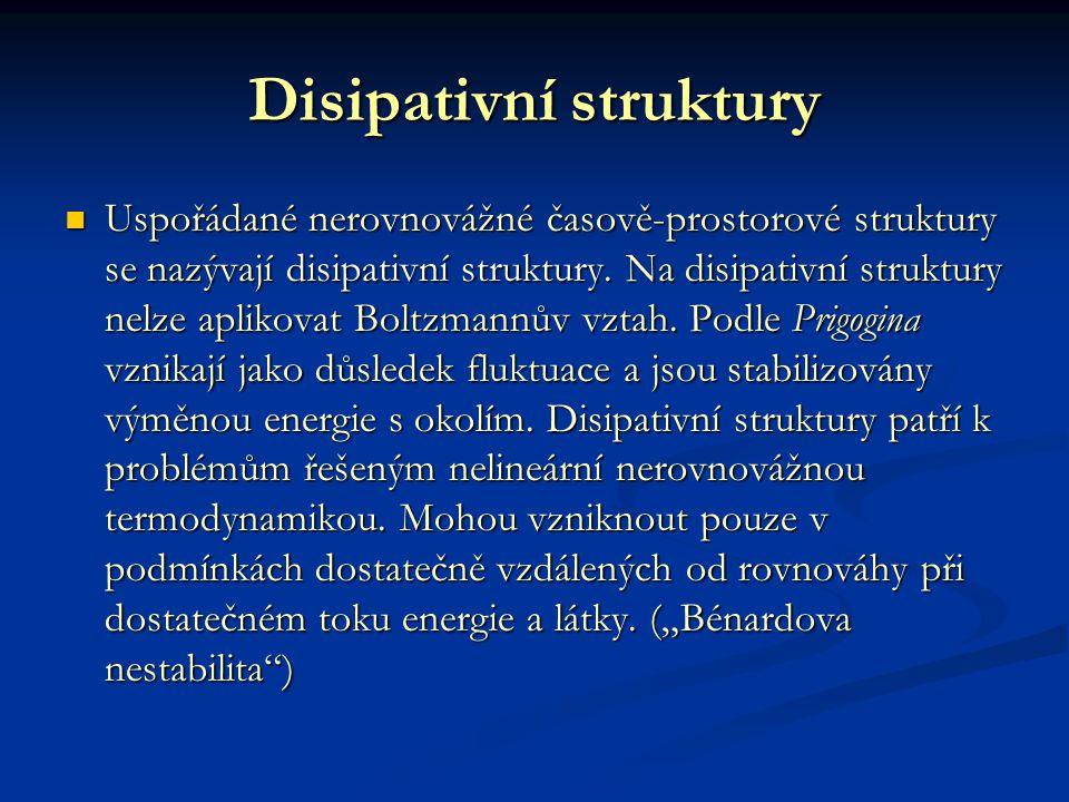 Disipativní struktury Uspořádané nerovnovážné časově-prostorové struktury se nazývají disipativní struktury.
