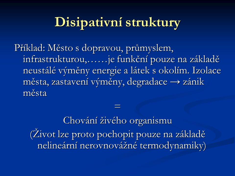 Disipativní struktury Příklad: Město s dopravou, průmyslem, infrastrukturou,……je funkční pouze na základě neustálé výměny energie a látek s okolím. Iz