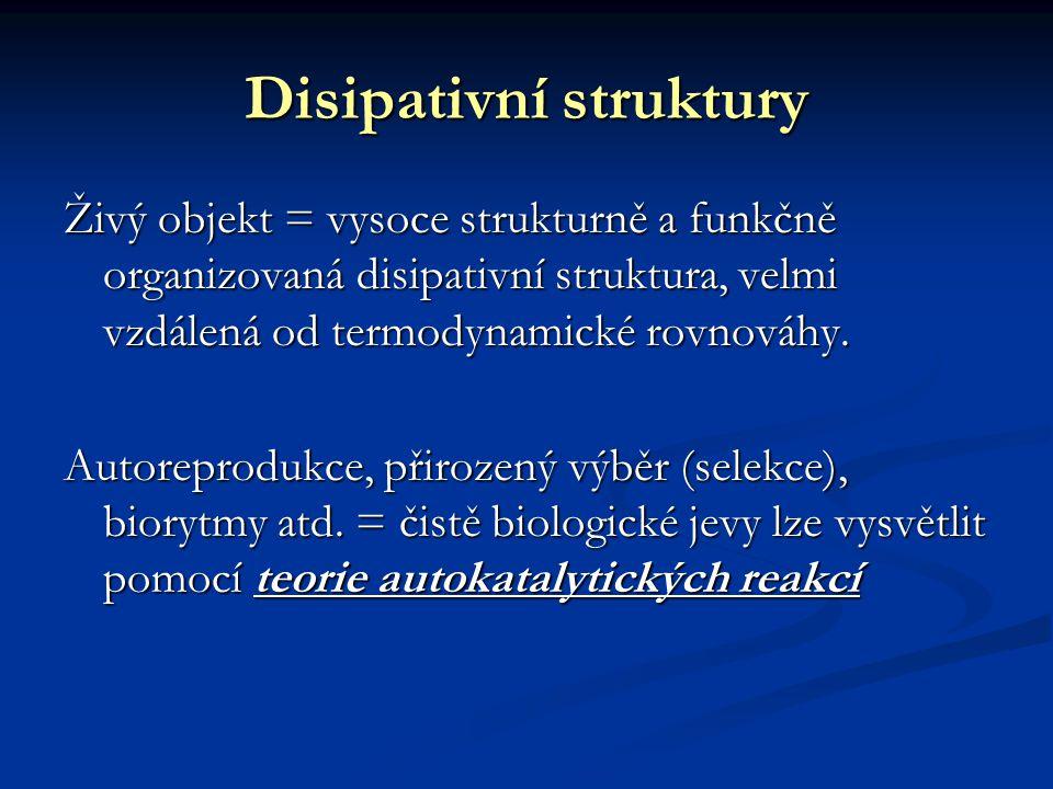 Disipativní struktury Živý objekt = vysoce strukturně a funkčně organizovaná disipativní struktura, velmi vzdálená od termodynamické rovnováhy.