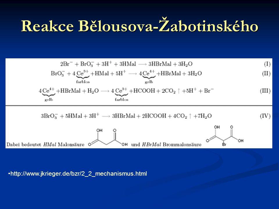 Reakce Bělousova-Žabotinského http://www.jkrieger.de/bzr/2_2_mechanismus.html