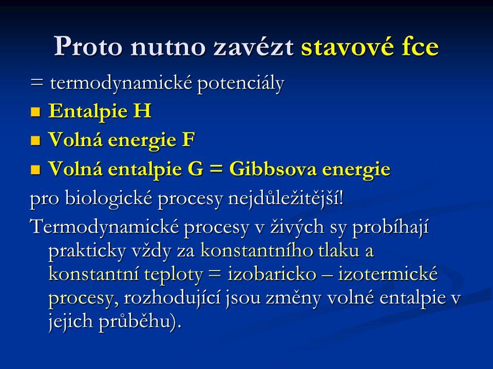 Proto nutno zavézt stavové fce = termodynamické potenciály Entalpie H Entalpie H Volná energie F Volná energie F Volná entalpie G = Gibbsova energie Volná entalpie G = Gibbsova energie pro biologické procesy nejdůležitější.