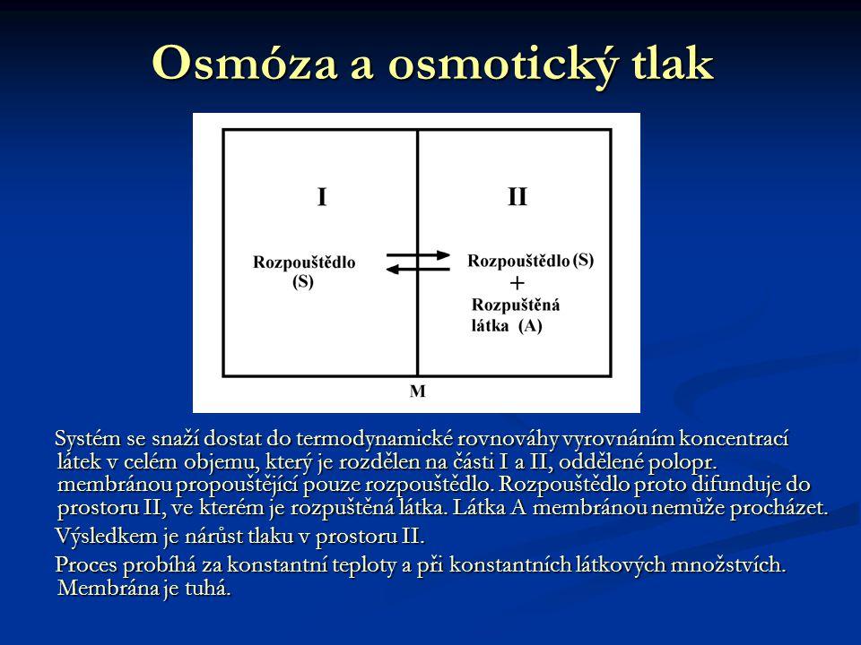 Osmóza a osmotický tlak Systém se snaží dostat do termodynamické rovnováhy vyrovnáním koncentrací látek v celém objemu, který je rozdělen na části I a II, oddělené polopr.