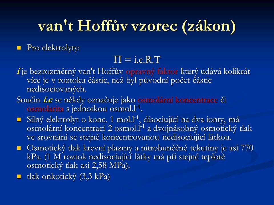 van t Hoffův vzorec (zákon) Pro elektrolyty: Pro elektrolyty:  = i.c.R.T i je bezrozměrný van t Hoffův opravný faktor který udává kolikrát více je v roztoku částic, než byl původní počet částic nedisociovaných.