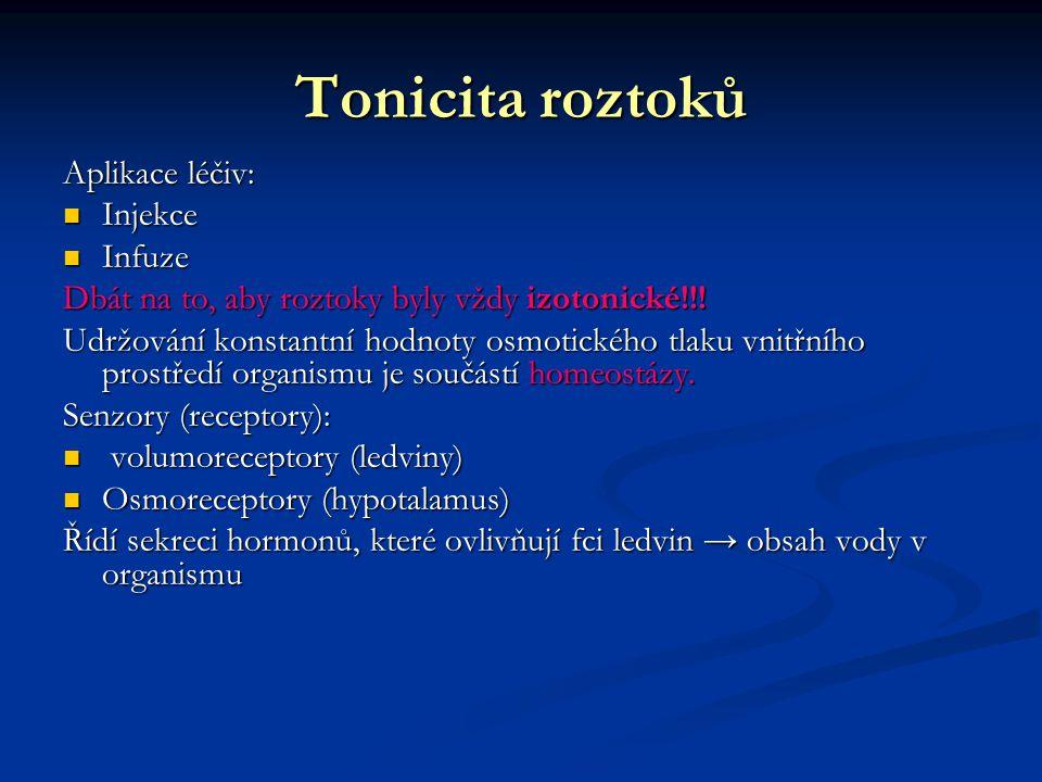 Tonicita roztoků Aplikace léčiv: Injekce Injekce Infuze Infuze Dbát na to, aby roztoky byly vždy izotonické!!! Udržování konstantní hodnoty osmotickéh