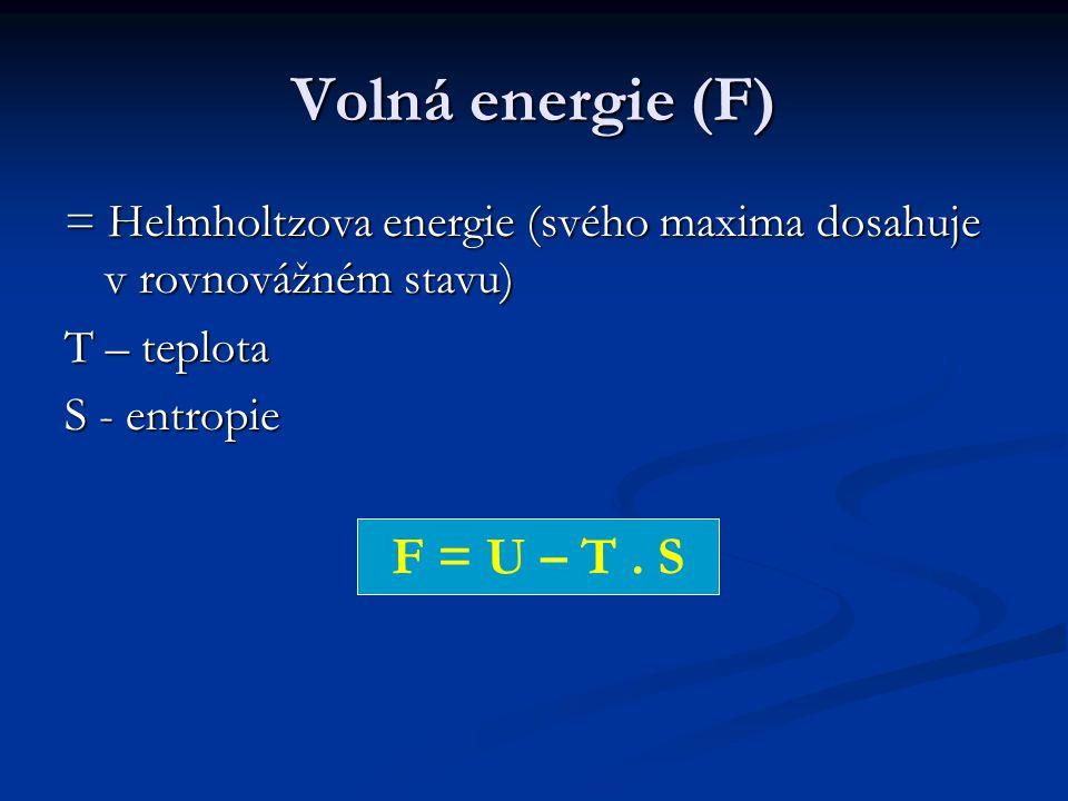 Volná energie (F) = Helmholtzova energie (svého maxima dosahuje v rovnovážném stavu) T – teplota S - entropie F = U – T.