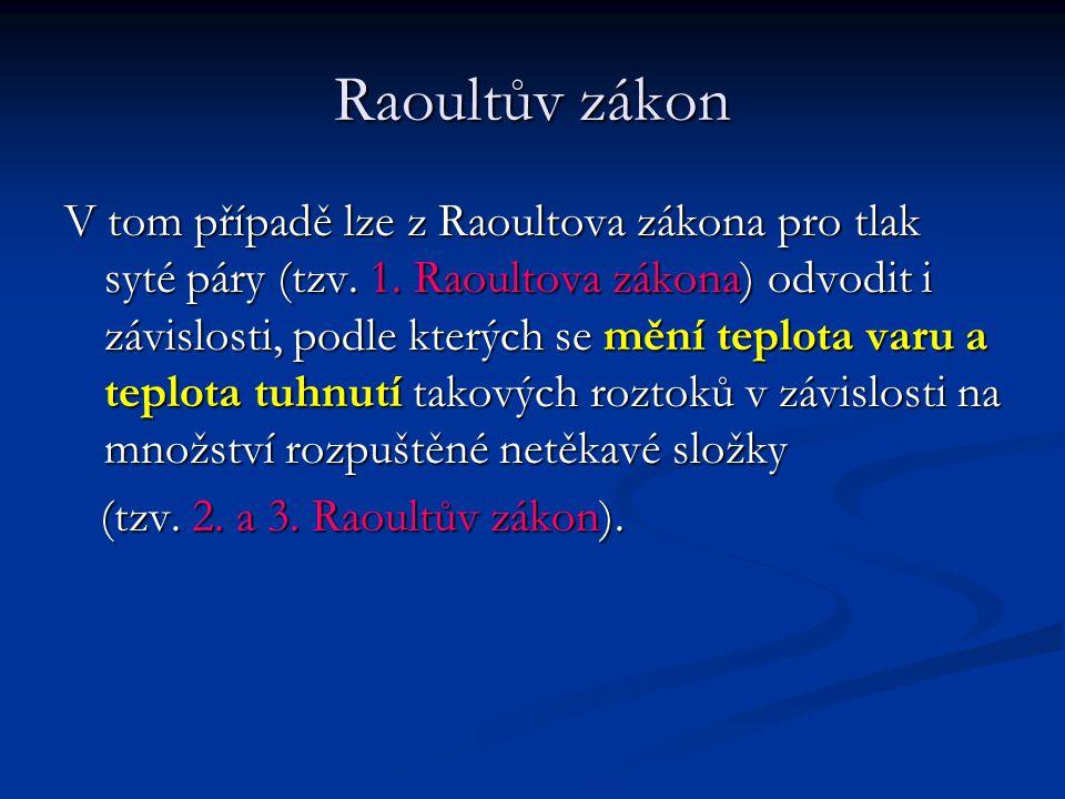 Raoultův zákon V tom případě lze z Raoultova zákona pro tlak syté páry (tzv. 1. Raoultova zákona) odvodit i závislosti, podle kterých se mění teplota