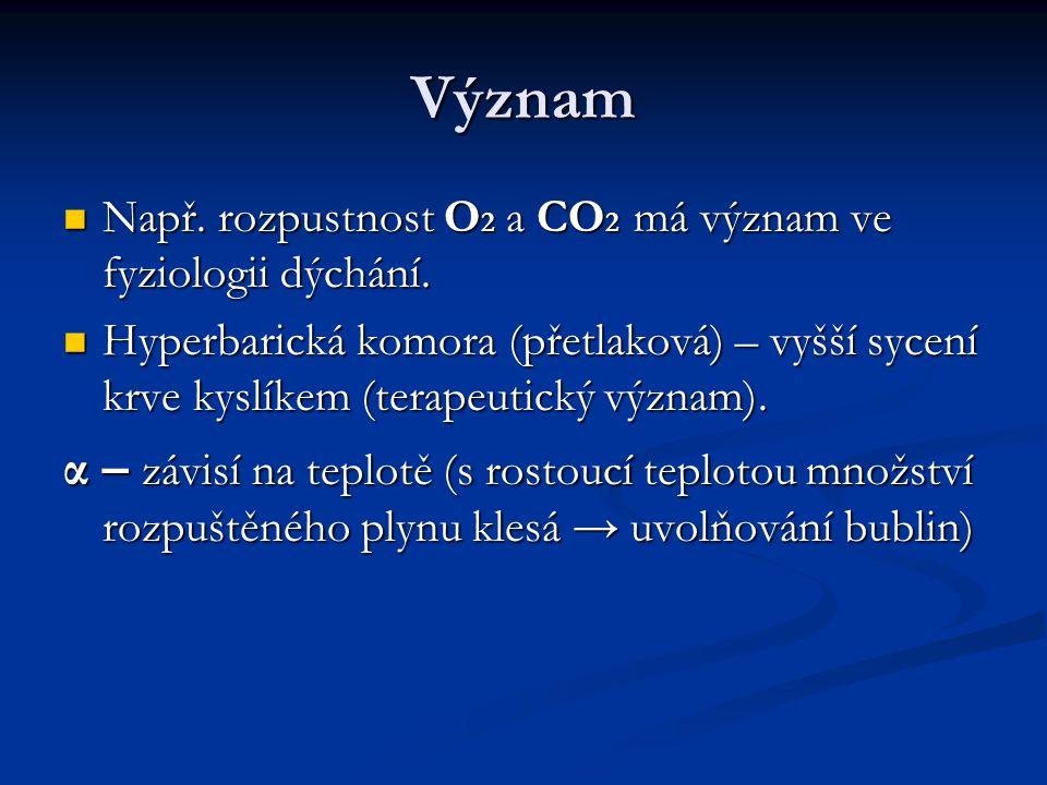 Význam Např. rozpustnost O 2 a CO 2 má význam ve fyziologii dýchání. Např. rozpustnost O 2 a CO 2 má význam ve fyziologii dýchání. Hyperbarická komora