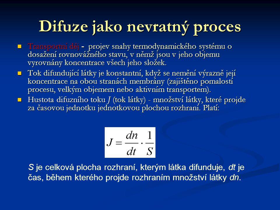 Difuze jako nevratný proces Transportní děj - projev snahy termodynamického systému o dosažení rovnovážného stavu, v němž jsou v jeho objemu vyrovnány koncentrace všech jeho složek.