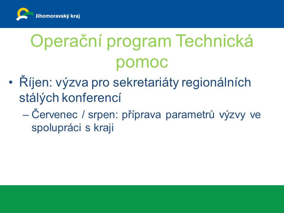 Operační program Technická pomoc Říjen: výzva pro sekretariáty regionálních stálých konferencí –Červenec / srpen: příprava parametrů výzvy ve spolupráci s kraji