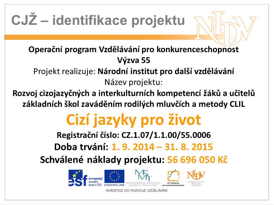 CJŽ – identifikace projektu Operační program Vzdělávání pro konkurenceschopnost Výzva 55 Projekt realizuje: Národní institut pro další vzdělávání Název projektu: Rozvoj cizojazyčných a interkulturních kompetencí žáků a učitelů základních škol zaváděním rodilých mluvčích a metody CLIL Cizí jazyky pro život Registrační číslo: CZ.1.07/1.1.00/55.0006 Doba trvání: 1.