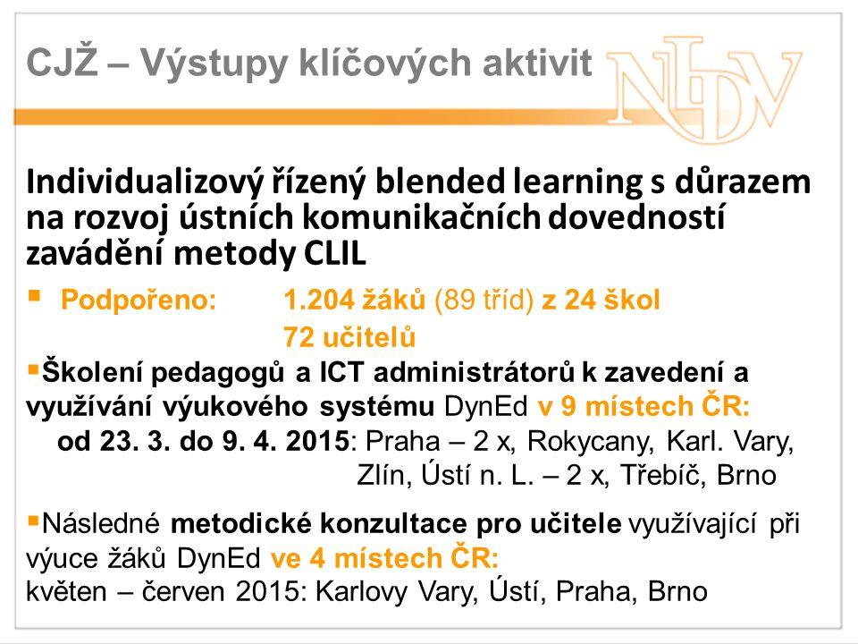 CJŽ – Výstupy klíčových aktivit Individualizový řízený blended learning s důrazem na rozvoj ústních komunikačních dovedností zavádění metody CLIL  Podpořeno: 1.204 žáků (89 tříd) z 24 škol 72 učitelů  Školení pedagogů a ICT administrátorů k zavedení a využívání výukového systému DynEd v 9 místech ČR: od 23.
