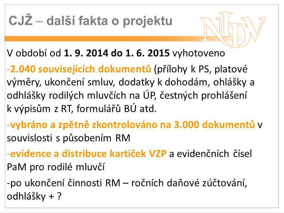 CJŽ – další fakta o projektu V období od 1. 9. 2014 do 1.