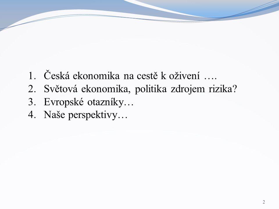 2 1.Česká ekonomika na cestě k oživení …. 2.Světová ekonomika, politika zdrojem rizika? 3.Evropské otazníky… 4.Naše perspektivy…
