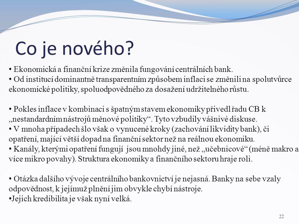 Co je nového? 22 Ekonomická a finanční krize změnila fungování centrálních bank. Od institucí dominantně transparentním způsobem inflaci se změnili na