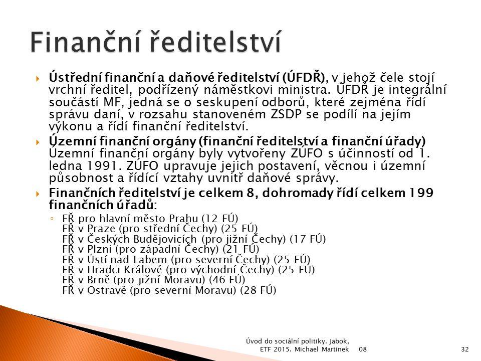  Ústřední finanční a daňové ředitelství (ÚFDŘ), v jehož čele stojí vrchní ředitel, podřízený náměstkovi ministra. ÚFDŘ je integrální součástí MF, jed