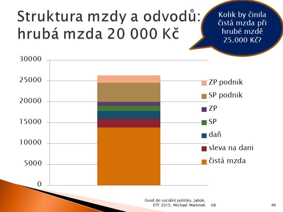 08 Úvod do sociální politiky. Jabok, ETF 2015. Michael Martinek46 Kolik by činila čistá mzda při hrubé mzdě 25.000 Kč?