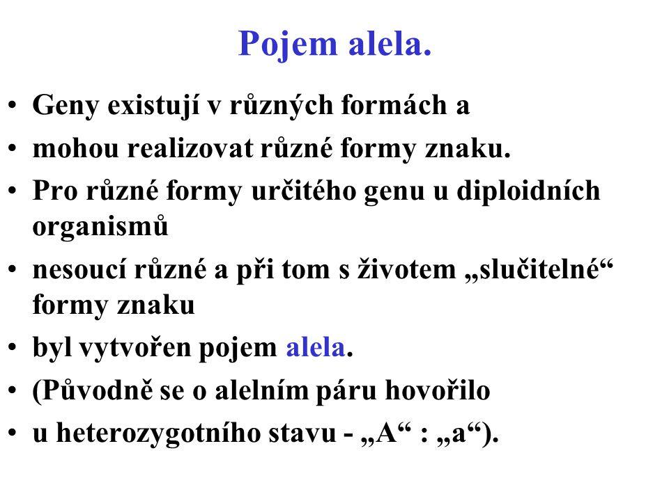 Pojem alela.Geny existují v různých formách a mohou realizovat různé formy znaku.