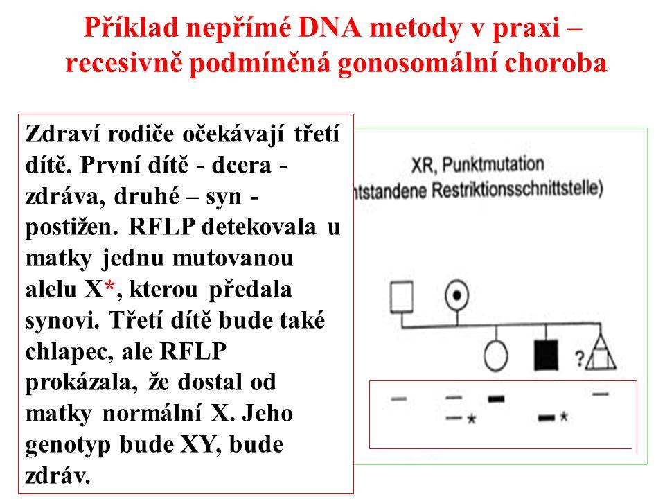 Příklad nepřímé DNA metody v praxi – recesivně podmíněná gonosomální choroba Zdraví rodiče očekávají třetí dítě.