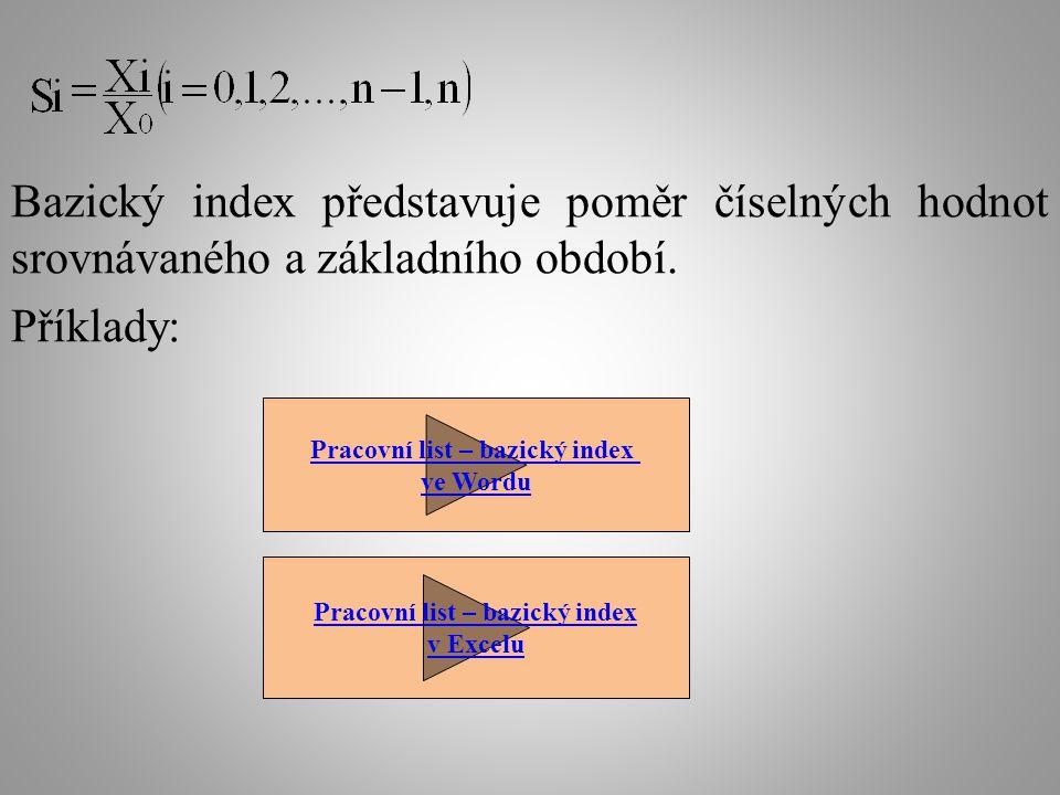 Bazický index představuje poměr číselných hodnot srovnávaného a základního období. Příklady: Pracovní list – bazický index ve Wordu Pracovní list – ba
