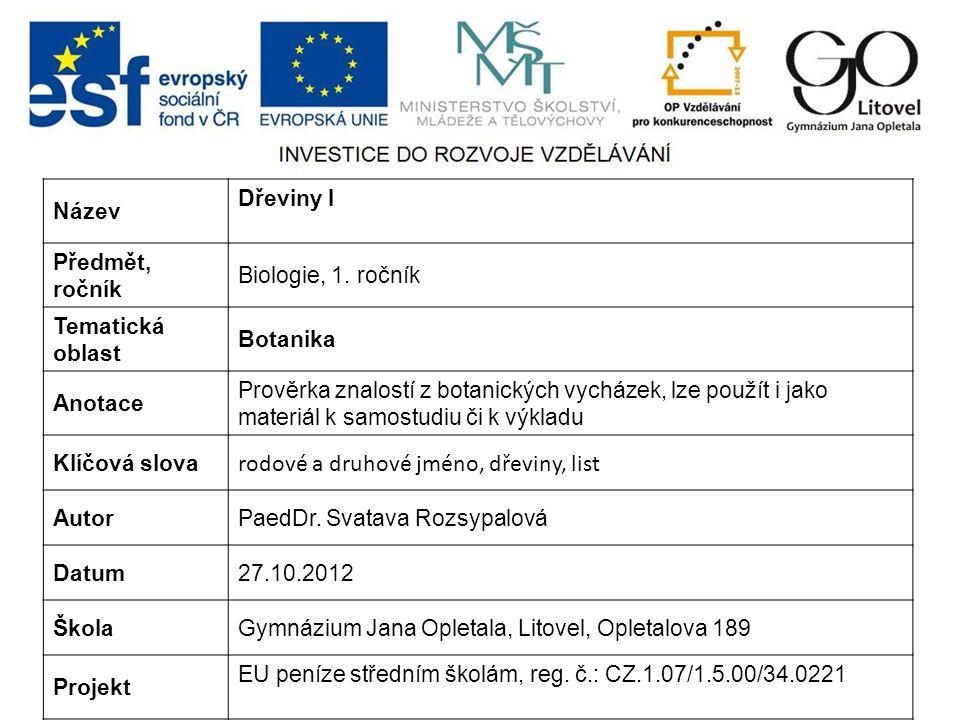 Název Dřeviny I Předmět, ročník Biologie, 1.
