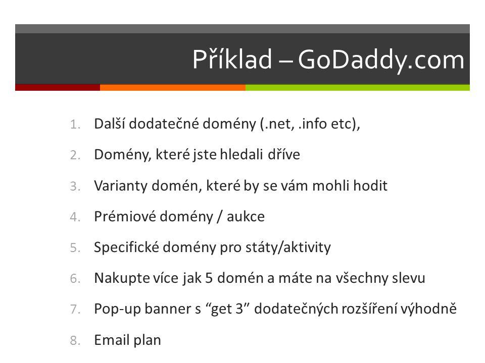 Příklad – GoDaddy.com 1. Další dodatečné domény (.net,.info etc), 2.