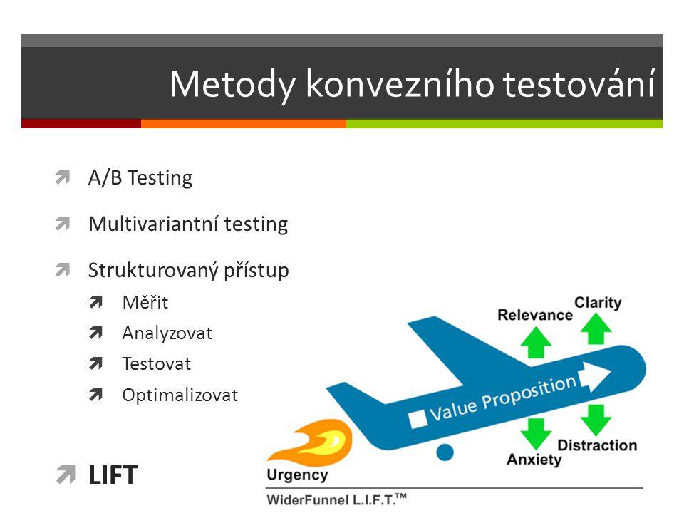 Metody konvezního testování  A/B Testing  Multivariantní testing  Strukturovaný přístup  Měřit  Analyzovat  Testovat  Optimalizovat  LIFT