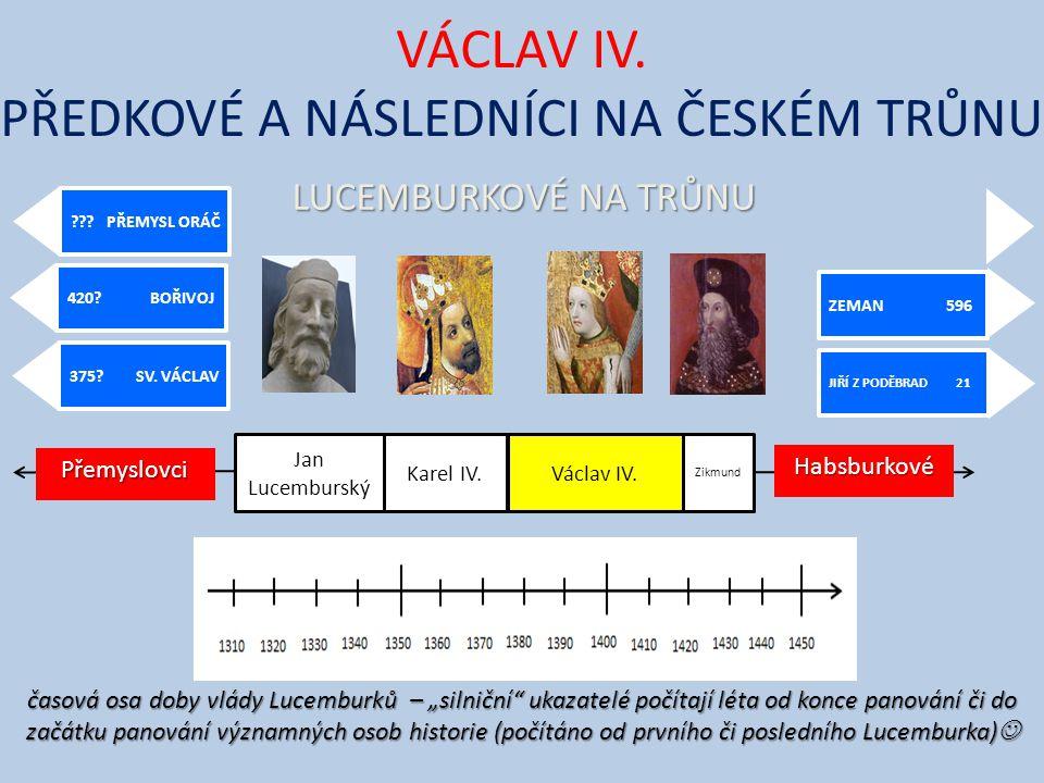 VÁCLAV IV. PŘEDKOVÉ A NÁSLEDNÍCI NA ČESKÉM TRŮNU JIŘÍ Z PODĚBRAD 21 ZEMAN 596 375? SV. VÁCLAV 420? BOŘIVOJ ??? PŘEMYSL ORÁČ Jan Lucemburský Karel IV.