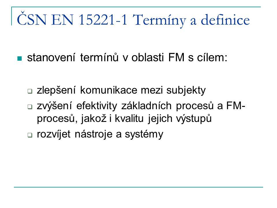 ČSN EN 15221-1 Termíny a definice stanovení termínů v oblasti FM s cílem:  zlepšení komunikace mezi subjekty  zvýšení efektivity základních procesů