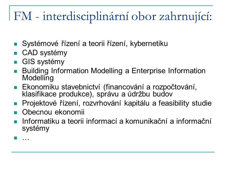 FM - interdisciplinární obor zahrnující: Systémové řízení a teorii řízení, kybernetiku CAD systémy GIS systémy Building Information Modelling a Enterp