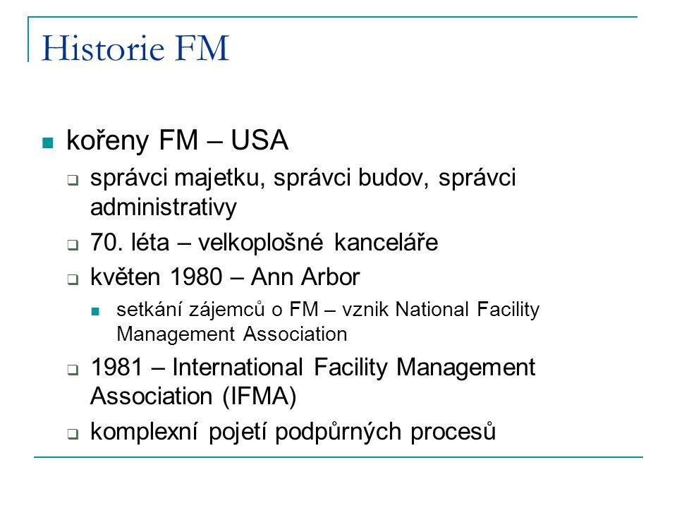 Historie FM kořeny FM – USA  správci majetku, správci budov, správci administrativy  70. léta – velkoplošné kanceláře  květen 1980 – Ann Arbor setk