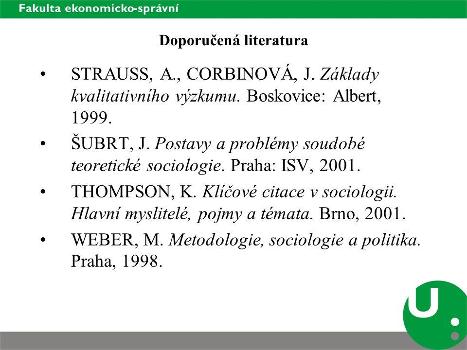 Doporučená literatura STRAUSS, A., CORBINOVÁ, J. Základy kvalitativního výzkumu.