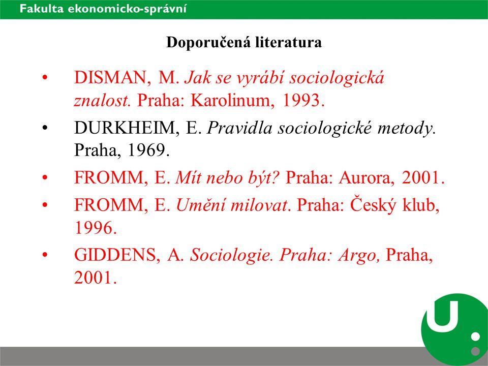 Doporučená literatura DISMAN, M. Jak se vyrábí sociologická znalost.