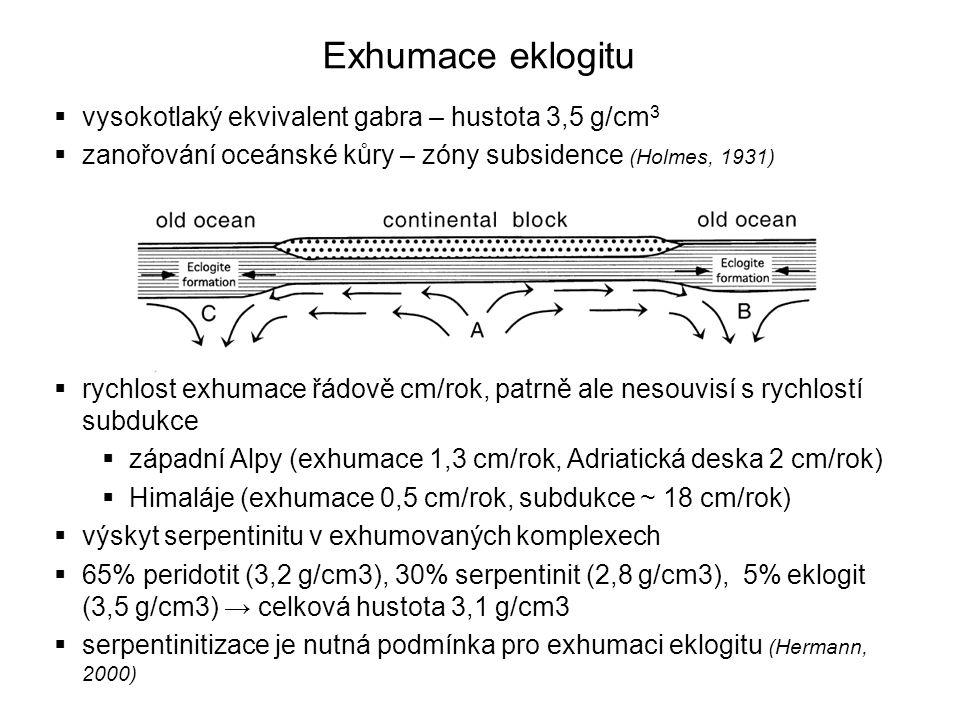Exhumace eklogitu  vysokotlaký ekvivalent gabra – hustota 3,5 g/cm 3  zanořování oceánské kůry – zóny subsidence (Holmes, 1931)  rychlost exhumace