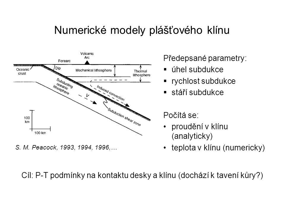 Numerické modely plášťového klínu S. M. Peacock, 1993, 1994, 1996,… Předepsané parametry:  úhel subdukce  rychlost subdukce  stáří subdukce Počítá