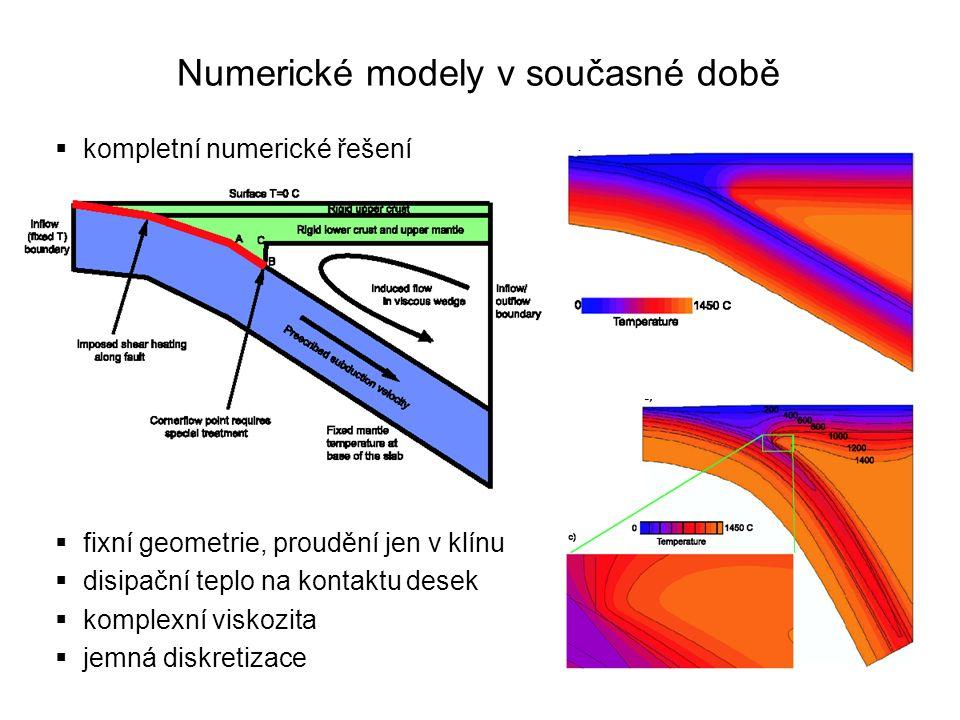 Numerické modely v současné době  kompletní numerické řešení  fixní geometrie, proudění jen v klínu  disipační teplo na kontaktu desek  komplexní