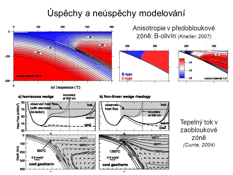 Úspěchy a neúspěchy modelování Anisotropie v předobloukové zóně: B-olivín (Kneller, 2007) Tepelný tok v zaobloukové zóně (Currie, 2004)