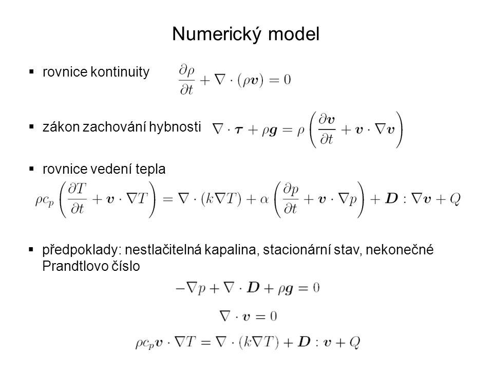 Numerický model  rovnice kontinuity  zákon zachování hybnosti  rovnice vedení tepla  předpoklady: nestlačitelná kapalina, stacionární stav, nekone