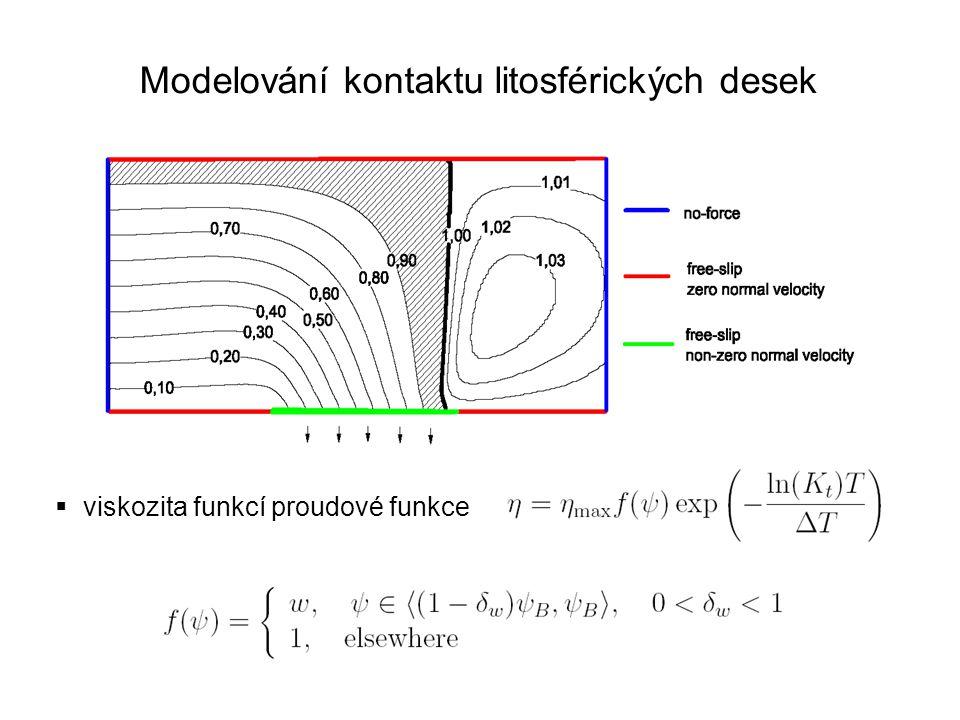 Modelování kontaktu litosférických desek  viskozita funkcí proudové funkce