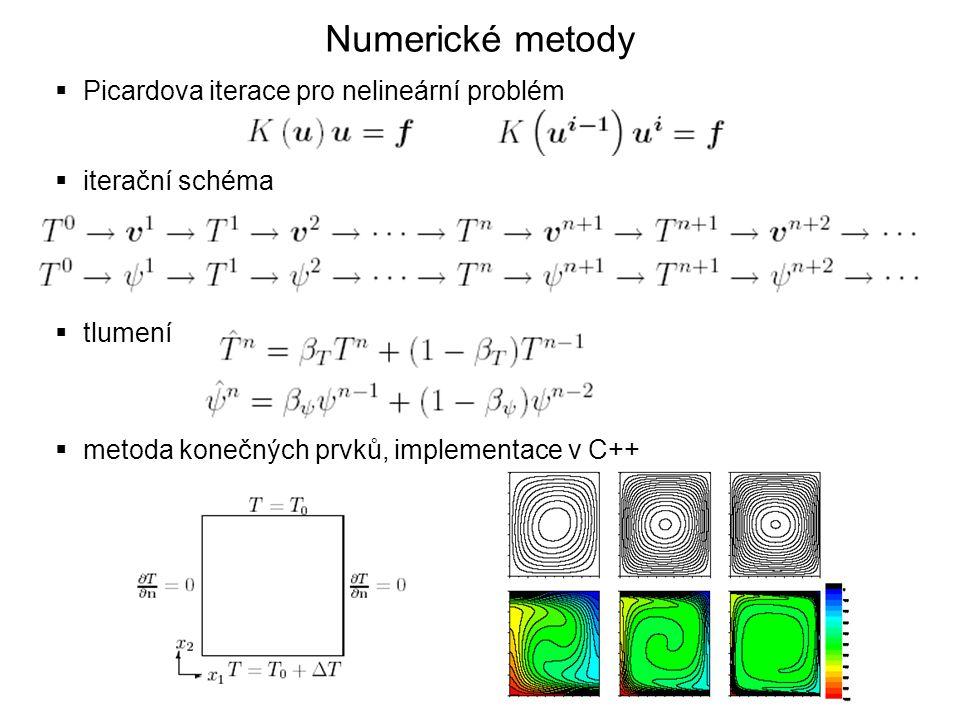 Numerické metody  Picardova iterace pro nelineární problém  iterační schéma  tlumení  metoda konečných prvků, implementace v C++