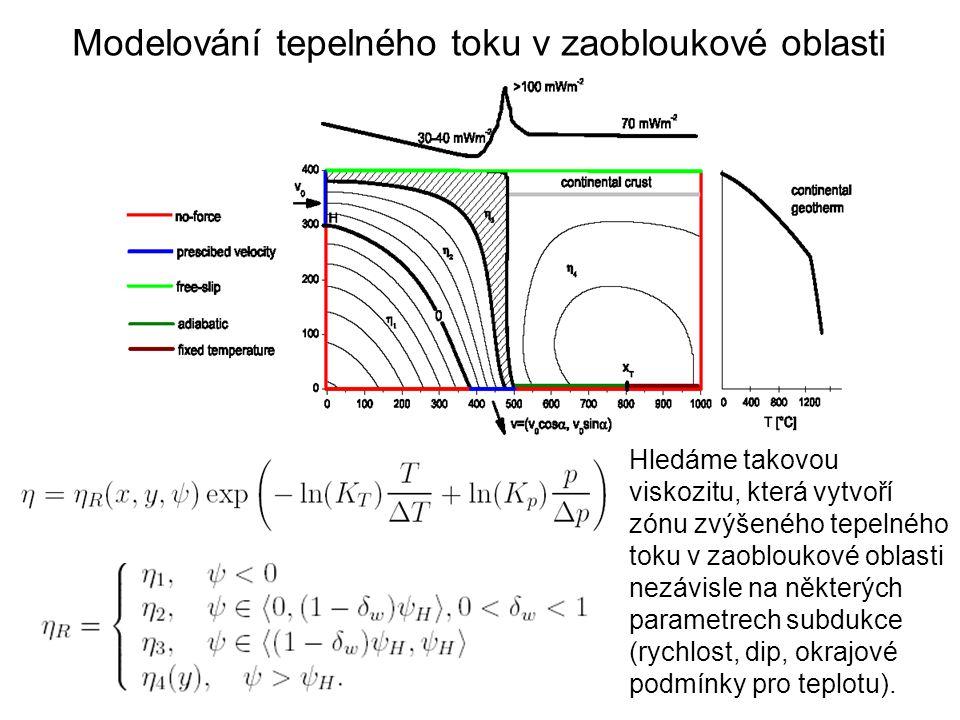 Hledáme takovou viskozitu, která vytvoří zónu zvýšeného tepelného toku v zaobloukové oblasti nezávisle na některých parametrech subdukce (rychlost, di