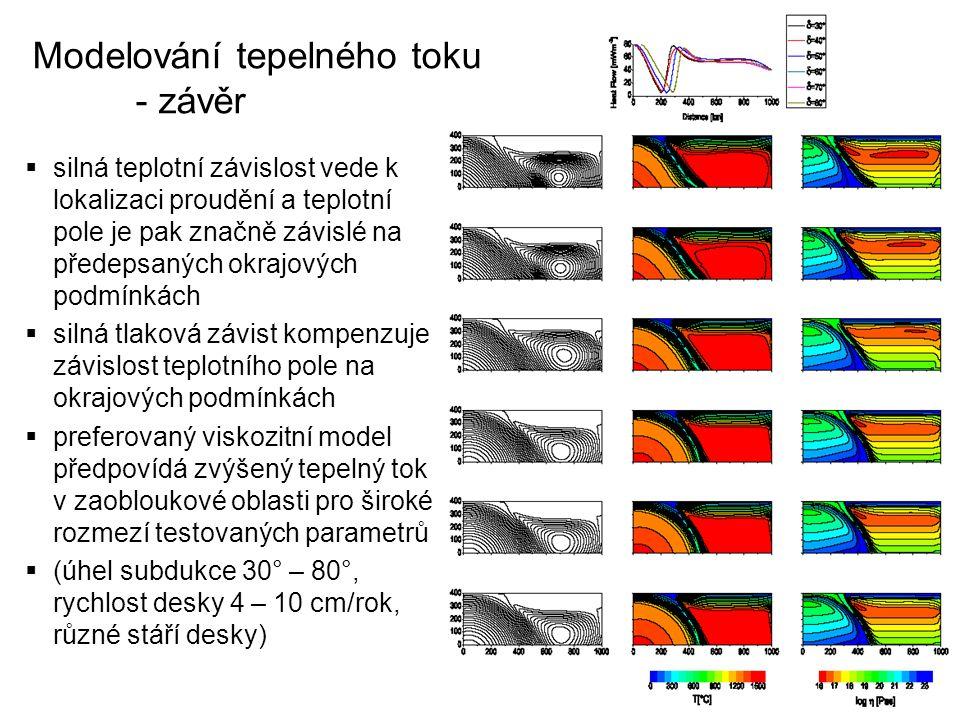 Modelování tepelného toku - závěr  silná teplotní závislost vede k lokalizaci proudění a teplotní pole je pak značně závislé na předepsaných okrajový
