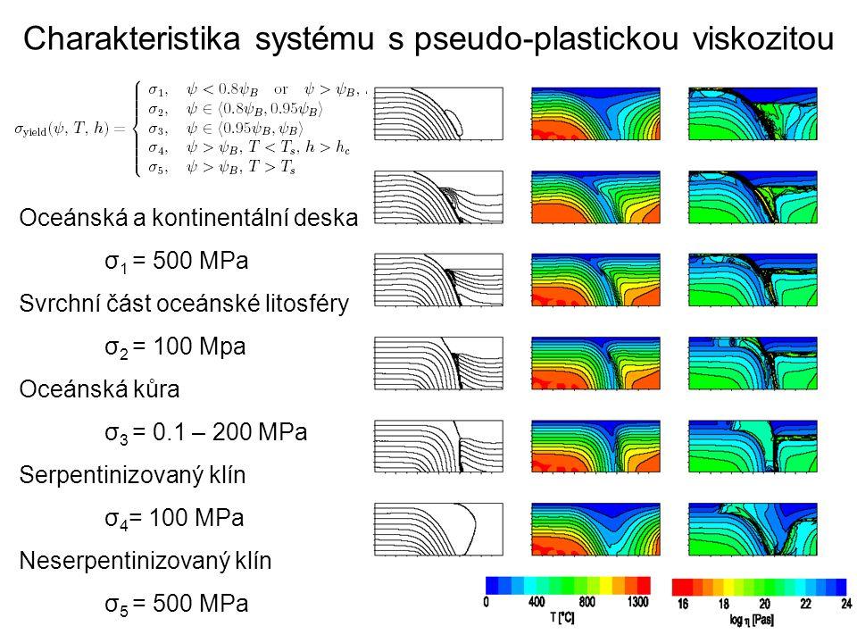 Charakteristika systému s pseudo-plastickou viskozitou Oceánská a kontinentální deska σ 1 = 500 MPa Svrchní část oceánské litosféry σ 2 = 100 Mpa Oceá