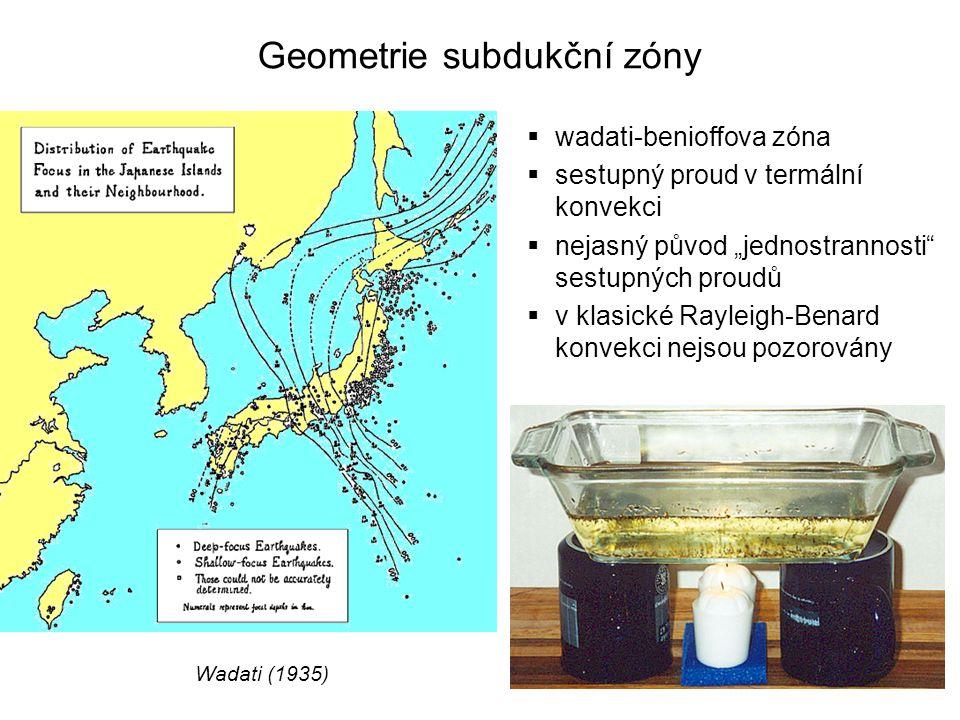 """Geometrie subdukční zóny Wadati (1935)  wadati-benioffova zóna  sestupný proud v termální konvekci  nejasný původ """"jednostrannosti"""" sestupných prou"""