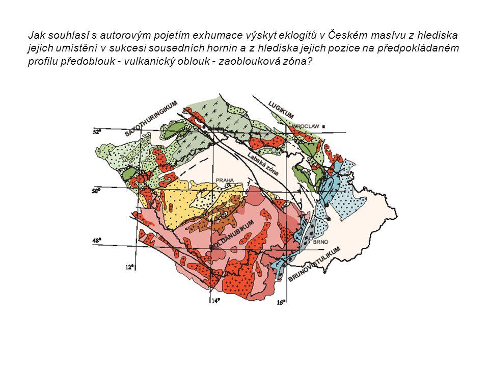 Jak souhlasí s autorovým pojetím exhumace výskyt eklogitů v Českém masívu z hlediska jejich umístění v sukcesi sousedních hornin a z hlediska jejich p