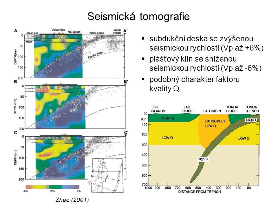Seismická tomografie  faktor kvality umožňuje hrubý odhad viskozity (Karato, 2003)  konstanta α = 0,23 určená z pozorování a experimentů  Q 0 =200 (PREM), Q v klínu = 70 – 150, pokles viskozity 0,01 – 0,2  odchylky rychlostí P-vln umožňují odhad viskozity  odchylka 5% odpovídá poklesu viskozity ~ 0,001  výsledky seismické tomografie jsou interpretovány jako důkaz podstatného poklesu viskozity v plášťovém klínu v zaobloukové oblasti