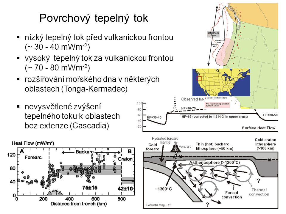 Povrchový tepelný tok  nízký tepelný tok před vulkanickou frontou (~ 30 - 40 mWm -2 )  vysoký tepelný tok za vulkanickou frontou (~ 70 - 80 mWm -2 )