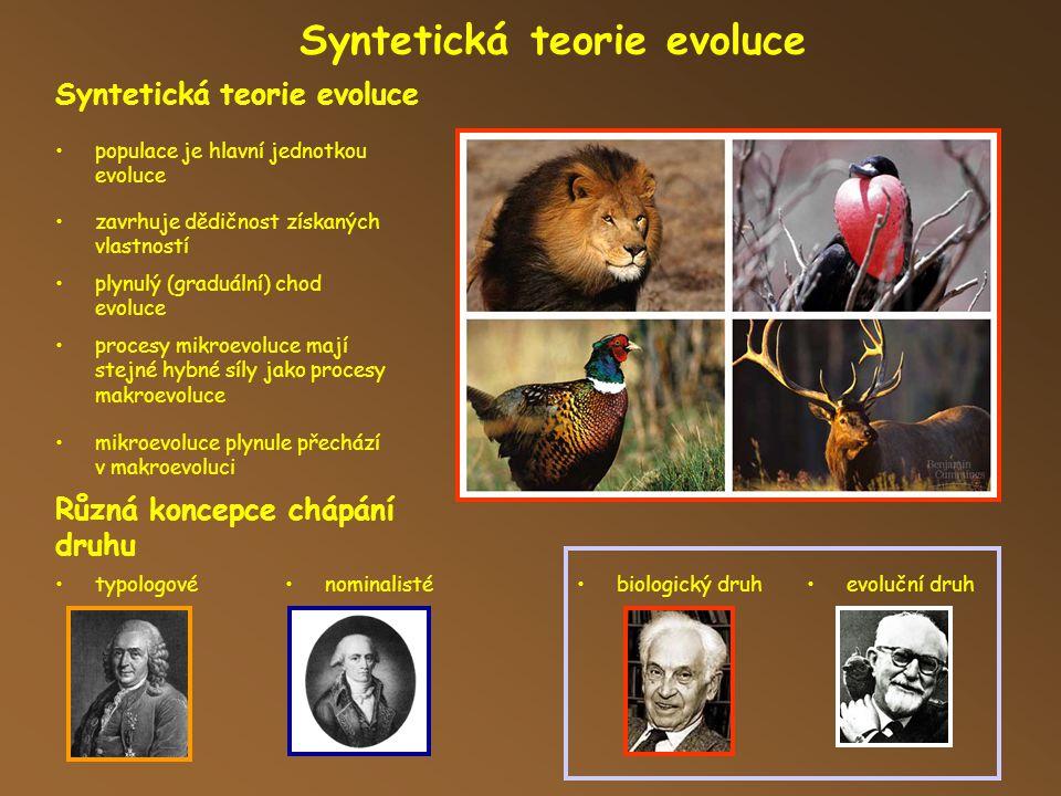 Syntetická teorie evoluce Různá koncepce chápání druhu populace je hlavní jednotkou evoluce zavrhuje dědičnost získaných vlastností plynulý (graduální) chod evoluce procesy mikroevoluce mají stejné hybné síly jako procesy makroevoluce mikroevoluce plynule přechází v makroevoluci typologovénominalistébiologický druhevoluční druh