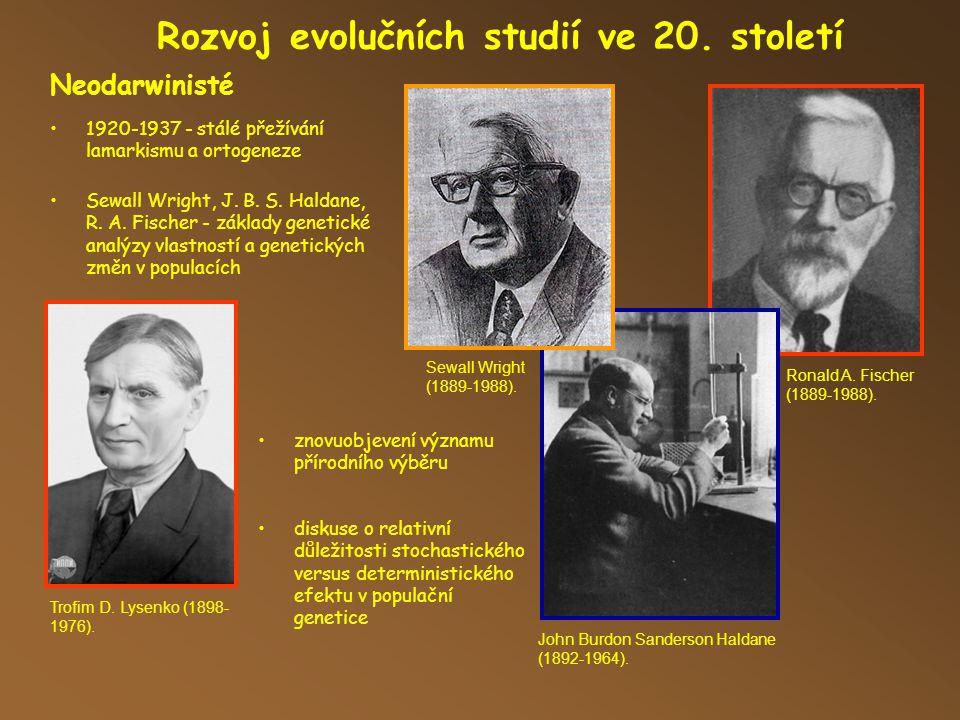 Ronald A.Fischer (1889-1988). Rozvoj evolučních studií ve 20.